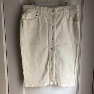 All Saints white jean skirt